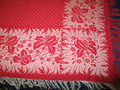 Exquisite c1900s Antique Woven Linen Damask Tablecloth~RED WHITE Lily of Valley