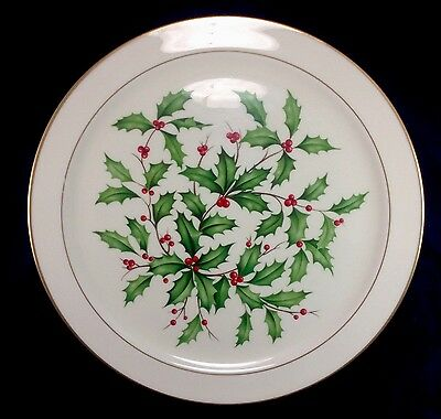 "Lenox Gold Trim Christmas Holiday 12.5"" Platter Plate Holly Berries"