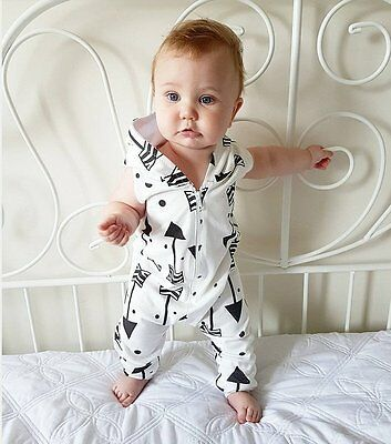 Newborn  Baby Boy Girl Infant Hooded Romper Jumpsuit Bodysuit Clothes 0-24M