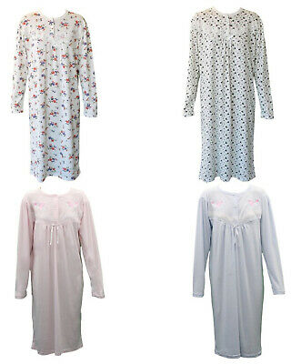 Women's Cotton Long Sleeve Nightie Night Gown Winter Pajamas Pyjamas Sleepwear