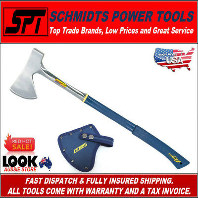 """Estwing E45A 26"""" Sportmans Camping Axe With Sheath & Long Handle Shock Reduction"""
