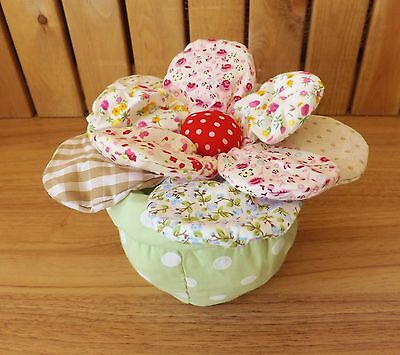 Shabby Chic Country Doorstop Patchwork Flower in Polka Dot Pot Fabric Door Stop