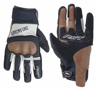 RST 2109 Adventure Style CE Men's Leather Motorcycle Gloves - Black/Silver