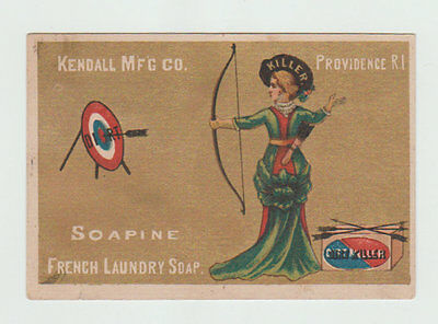 Victorian Trade Card,[ Soapine French Laundry Soap, Lady with Bow and Arrow