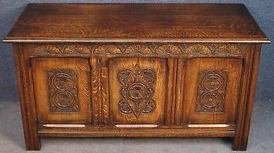 1920s Period Style Carved Oak Triple Panelled Coffer / Blanket Box