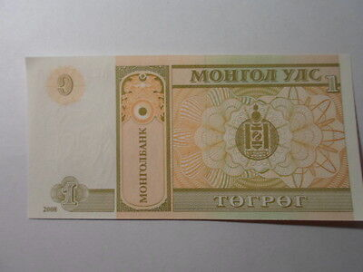 Old Mongolia Paper Money Currency - 2008 1 Togrog - Crisp Uncirculated