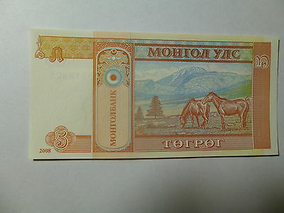 Mongolia Paper Money Currency - 2008 5 Togrog Horses - Crisp Uncirculated