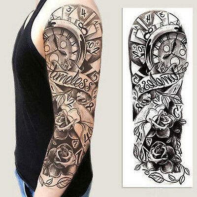 Full Arm Flower Rose Clocks Tribal Tattoo Temporary Stickers Body Art 3D Tattoo