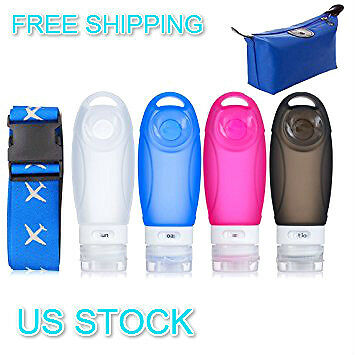 Silicone Travel Refillable Packing Bottles Set + Adjustable Travel Luggage Belt