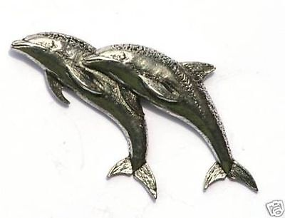 Dolphin Design  Pewter Pin Badge Made in UK NEW Gift