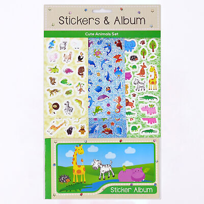 Fun Stickers Cute Animals Stickers & Album Set, 6 Sheets 14 x 7cm + Collector...