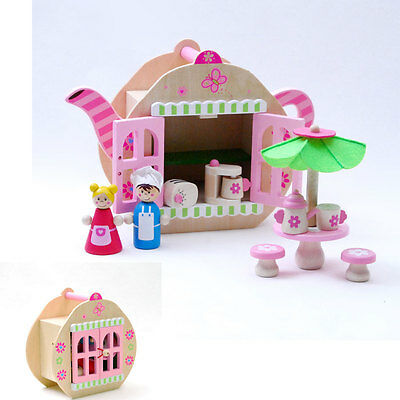 NEW Wooden Teapot Cafe Coffee Shop pretend Playset dolls & furniture - 12pc