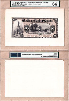 Rare 1904 $20 Home Bank of Canada Color Proof PMG CH UNC64