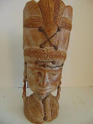 ANTIQUE VINTAGE HAND CARVED WOODEN HEAD FOLK ART 12 Inches Height
