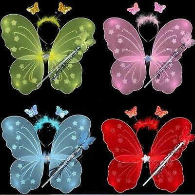 Cute 3Pcs Girl Kids Butterfly Wing Wand Headband Children Fairy Xmas Costume Set