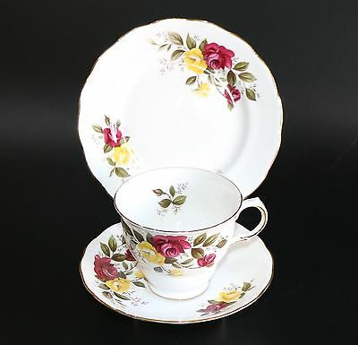 Vintage Crown Essex English Bone China Richmond Rose Tea Cup Saucer Plate- 3Pc