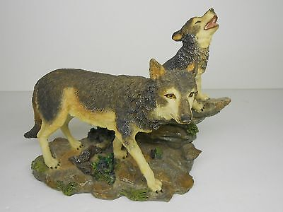 Wolf with Howling Pup on Rocks Sculpture Statue Figurine Nature Wildlife