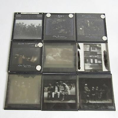 9 Antique Glass Plate Negatives - People In Various Settings