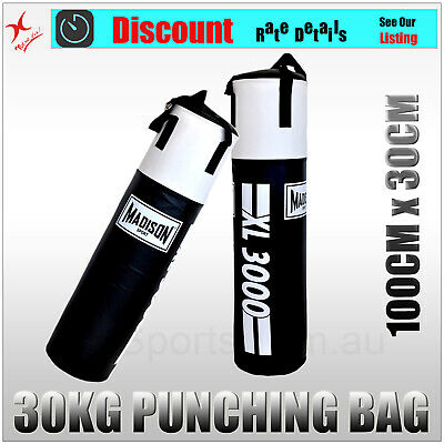 Solid Filled 30Kg Heavy Duty Madison Boxing Punching Bag Martial Arts Kicking
