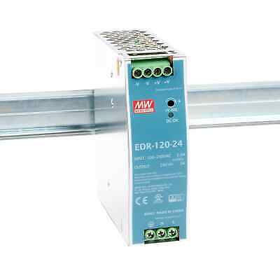 Mean Well EDR-120-24 120W Economical AC to DC DIN Rail Power Supply 24V DC 5A