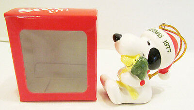 Snoopy & Woodstock 1977 Ceramic Christmas Ornament W/ Box Made In Japan Peanuts