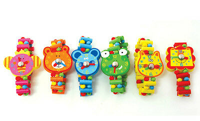 New kids wooden animal fake watches Cat Teddy Bear Mouse Frog etc elastic band