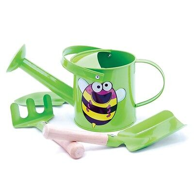 New pretend play toy 4 pcs kids metal garden watering can tool set Bee green