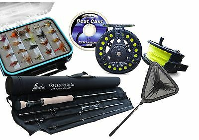 Flextec Fly Fishing Kit, Rod, Reel, Line, Flies. Landing Net 9' #7/8 Rrp £290