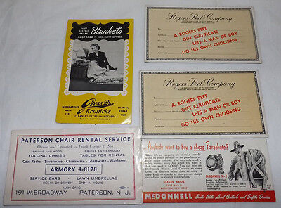 (Group of 5) Assorted Advertising INK BLOTTER from New Jersey & Minnesota