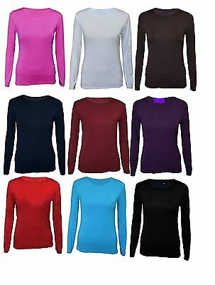 Kids Long Sleeve Plain Basic Top Girls T-Shirt Tops Crew Uniform Tee 2-13 Y