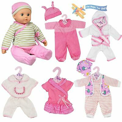 "New Born Baby Doll Set of 6 Outfits 12-16"" Baby Dolls Clothes Romper Pink Dress"