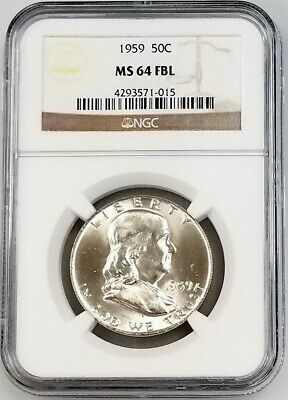 1959 Franklin Half Dollar certified MS 64 FBL by NGC! Full Bell Lines!