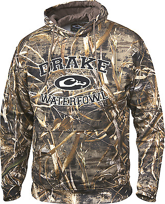 Drake Men's Waterfowl Systems Embroidered Camo Hoodie Realtree Max-5 S