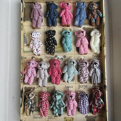 Vintage Style Collection 5 Mini Teddy Bears Weddings/ Key-Ring/Favor/Baby Shower