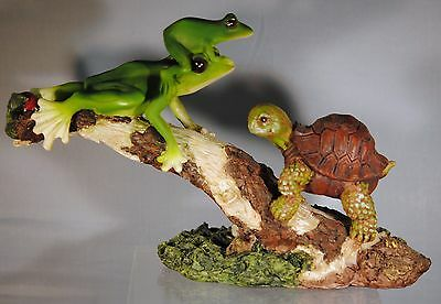 Frogs And Turtle On Log Figurine - New In Box