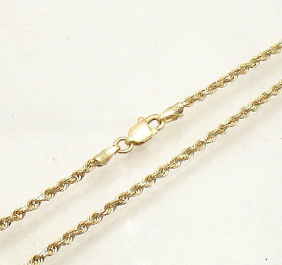 "10"" 2mm Diamond Cut Rope Ankle Bracelet Anklet Real Solid 14K Yellow Gold 2.3gr"