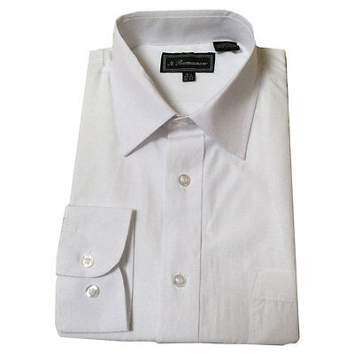 Men's White Long Sleeve Button Up Dress Shirt with Pocket