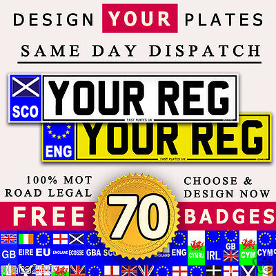 Pair Of Quality Car Number Plate's 100% Road Legal Mot / Dva Compliant