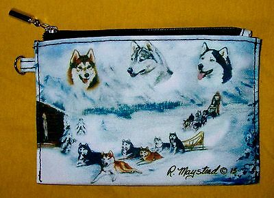 SIBERIAN HUSKY Zippered Pouch by Maystead / full color both sides / NEW