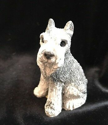 Stone Critter Littles SCL-033 Gray Schnauzer Dog Figurine Seated ©1988 USA Made
