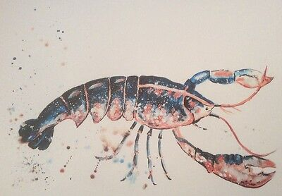 Limited signed print of my original painting A4 blue lobster