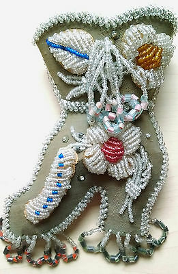 Vintage Victorian Beaded Shoe Pin Cushion with sewing scissor's pouch