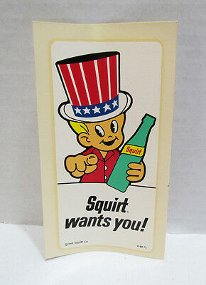 Squirt Wants You Vintage Water Dip Decal Soda Advertising Squirt Boy Uncle Sam