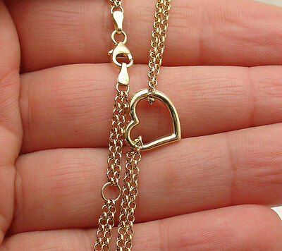 "10"" ~11"" Open Heart Anklet Ankle Bracelet Double Rolo Chain Real 10K Yellow Gold"