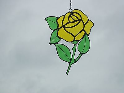 Stained Glass handmade single yellow rose Sun-catcher