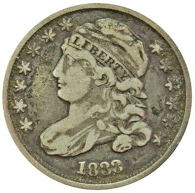 1833 Silver United States Capped Bust Dime Coin Fine Condition