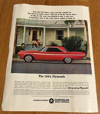 1963 Print Advertisement for 1964 Plymouth Vintage Chrysler Color Magazine Ad