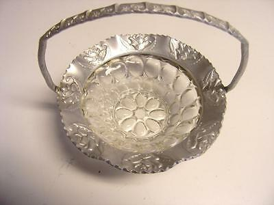 "Vintage  MCM Hammered Aluminum Round Roses basket 7 1/2"" w Glass bubble bowl"