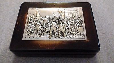 Vintage Art Deco Era Dutch Silver Plated Ornate Relief Scene Lacquered Wood Box