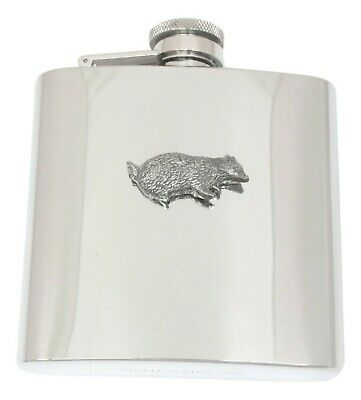Badger Design Stainless Steel Hip Flask Gift Boxed New 016